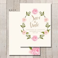 Save The Date Invitation Watercolor Floral by FateandFourtune