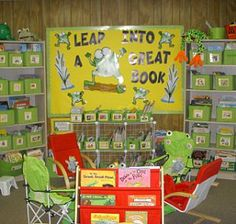Frog overload! Frog themed classroom. I like the leap into a good book sign!