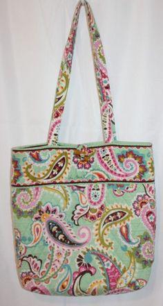 40f99b9dac Vera Bradley Tutti Frutti Tote Bag Mint Green Pink Paisley Shopper Purse  Handbag  VeraBradley