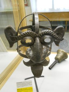 """Medieval Crime Museum- Shame mask, Passau, Germany 17th century. The shame mask is in the shape of a so called, """"Wild man."""" The mask was worn by men who lead a """"wild way of life."""""""
