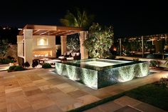 A plunge pool with a glass tile exterior looks even more magical at night with atmospheric lighting in this outdoor design that pairs it with a cozy outdoor living room and patio. Small Backyard Pools, Swimming Pools Backyard, Swimming Pool Designs, Pool Landscaping, Country Landscaping, Small Pools, Pool Spa, Jacuzzi, Merida