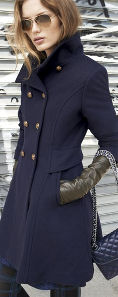 Winter look   Chic marine button up coat with Chanel handbag