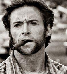 Hugh Jackman as Logan (Wolverine) People Smoking, Man Smoking, Cigar Smoking, Moustaches, Famous Cigars, Smoking Celebrities, Hugh Michael Jackman, Logan Wolverine, Wolverine Movie