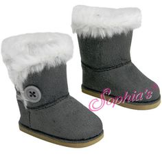 Gray Boots Fur Trim Button Winter Shoes fit 18 inch American Girl Doll Clothes #MyDollPlace