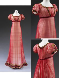 1810 ca. Evening Dress, British. Empire style, short sleeves, machine made silk net, embroidered with chenille thread, with silk ribbon, hand-sewn.