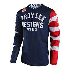 Troy Lee Designs GP Air Americana Men's Off-Road Motorcycle Jersey - Navy Lightweight ventilated polyester mesh with durable construction Breathable stretch polyester materials move with your body Motocross Shirts, Cycling T Shirts, Motocross Gear, Equipement Cross, Troy Lee, Vintage Jerseys, Boys T Shirts, Shirt Style, Long Sleeve Shirts