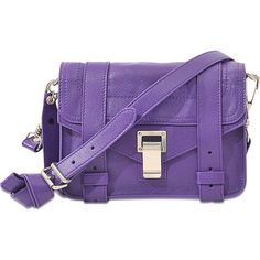 Proenza Schouler PS1 Mini Crossbody bag ($875) ❤ liked on Polyvore featuring bags, handbags, shoulder bags, purple, purple crossbody purse, purple handbags, mini cross body purse, crossbody purse and crossbody shoulder bags
