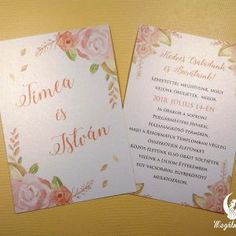 Tavaszi nyomtatott esküvői meghívó 6. #esküvői #meghívó #nyomtatott #esküvőimeghívó #tavasz #egyedi #wedding #weddinginvitation #spring #springinvitation #unique #flowers #flowerinvitation #vintage Spring Wedding Invitations, Winter Springs, Fall Winter, Vintage, Vintage Comics