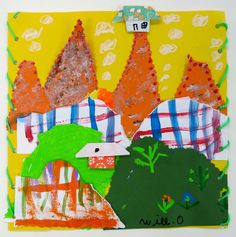 2nd grade collage landscapes inspired by Chilean stitched art called arpilleras