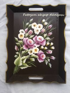 Fatma Aydin One Stroke Painting, Stencil Painting, Tole Painting, Pottery Painting, Painting On Wood, Painted Trays, Hand Painted, Floral Painted Furniture, Donna Dewberry Painting