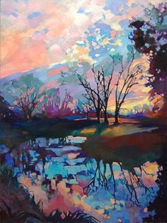 Just Landscape Animal Floral Garden Still Life Paintings by Louisiana Artist Karen Mathison Schmidt: Evensong II large original impressionist landscape oil painting • arts & crafts style illustration by professional Louisiana landscape artist KMSchmidt • postimpressionist style sunset sunrise art trees reflected in water