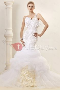 トランペット/マーメイドワンショルダー床までの長さチャペルビーズウェディングドレス