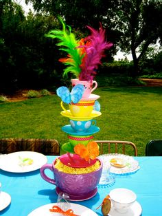 Image Detail for - Whimsical Alice in Wonderland/Mad Hatter tea party tea cup centerpiece Tea Party Centerpieces, Summer Wedding Centerpieces, Centerpiece Ideas, Disney Centerpieces, Colorful Centerpieces, Centrepieces, Mad Hatter Party, Mad Hatter Tea, Mad Hatters