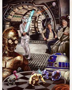 C-3PO & R2-D2 having a game of dejarik aboard the Millennium Falcon en route to Alderaan   Star Wars: A New Hope   #dejarik #millenniumfalcon #c3po #r2d2 #lukeskywalker #hansolo #obiwankenobi #jedi #lightsaber #chewbacca #alderaan #deathstar #starwars #starwarsart #starwarsfanart #anewhope