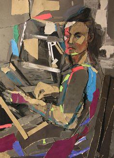 Богомолова Ольга. Портрет. 2017. Коллаж, соус, пастель. 58,5х43