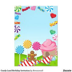 candy land birthday invitation