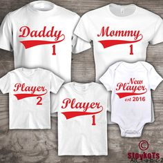 Baseball family t-shirts Mommy Daddy set of 5 shirts, customization of wording, personalized in your own words,  by StoykoTs on etsy