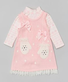 Another great find on #zulily! Pink Mittens Layered Dress - Infant, Toddler & Girls #zulilyfinds