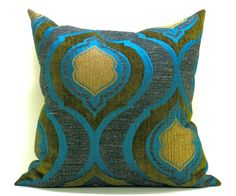 Peacock, olive & gold pillow cover from labdesigns on etsy. $75. morroccan