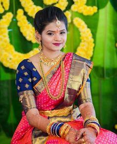 Beautiful blouse designs for pink color silk saree candy crow- indian beauty and Wedding Saree Blouse Designs, Pattu Saree Blouse Designs, Half Saree Designs, Wedding Silk Saree, Blouse Designs Silk, Designer Blouse Patterns, Bridal Sarees, Viria, Simple Blouse Designs