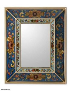 Sapphire Arms Hand Painted Glass Wall Mirror. (Peru) $115.19 @ worldofgood.ebay.com