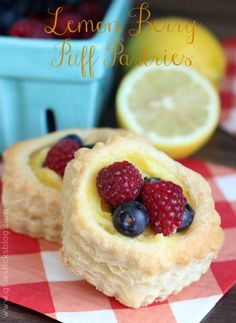 Lemon Berry Puff Pastries {With Homemade Lemon Curd} featuring Pepperidge Farm Puff Pastry (client)