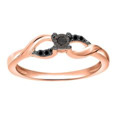 Black Diamond Rose Gold Over Sterling Promise Ring For Mother's Day $1200 New
