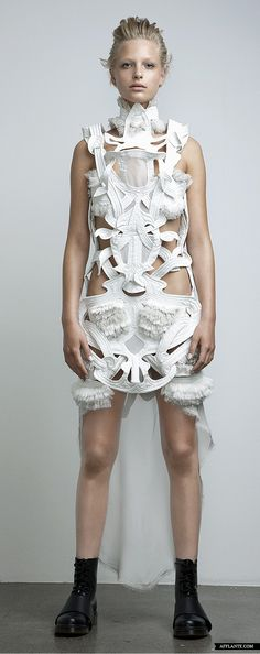 Sculptural Fashion - white dress with interlocking structure, quilted panels & ruffles; wearable art // Anne Sofie Madsen