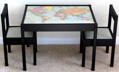 Spruce up the Latt table with a world map. | 31 Brilliant Ikea Hacks Every Parent Should Know