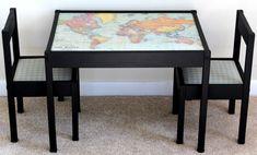 Bli en expert på världen! Måla barnmöblerna i en valfri färg och limma på en världskarta!