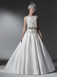 Maggie Sottero - High Neck Ball Gown in Mikado