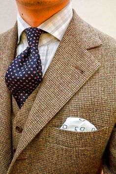 Tweed three-piece suit: this is the sort of thing I'd like to wear . .but never do . .