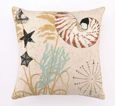 Down Filled Embroidered Nautilus Shell Coastal Pillow