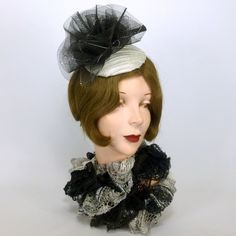 Black and Satin Silver Lame Cocktail Fascinator Hat BY SHARON PANOZZO  #millinery #hats #HatAcademy