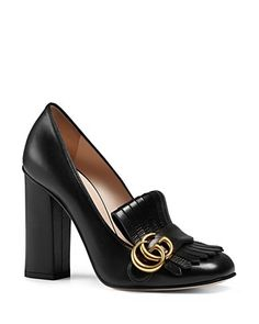 GUCCI Black Leather Fringe Moccasin Pumps