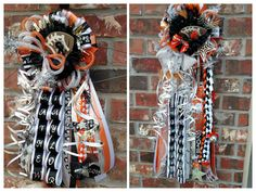 """Homecoming mums by Crafty bug... Boys and girls matching homecoming mums; 18"""" & 24"""" orange black and white mums; garter mum; cheer mum; football mum; homecoming mums with bling"""