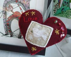 Ruby Hand made Fabric Heart Dove beads embroidery Valentine anytime by Anita