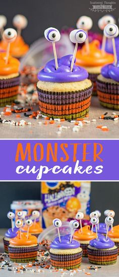 These Easy Monster Cupcakes are Perfect for Halloween! These Easy Monster Cupcakes are Perfect for Halloween! Halloween Desserts, Postres Halloween, Hallowen Food, Halloween Food For Party, Halloween Birthday, Holidays Halloween, Halloween Kids, Halloween Treats, Halloween Recipe
