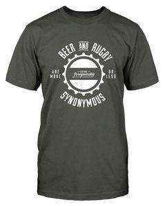 Beer & Rugby   This awesome rugby t-shirt featuring subtle beer bottle cap detail and retro style, was inspired by a quote from former All Black Chris Laidlaw. Beer and Rugby are more or less synonymous - well, he sort of has a point there.