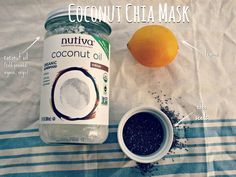 Coconut Chia Lemon Face Mask --This mask is great since the chia seeds exfoliate and help moisturize, the coconut oil is hydrating, and the lemon juice works to remove age spots and tighten pores.  | New Nostalgia