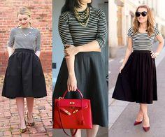 Teal and Polka Dots: Make it Work Monday: Black Midi Skirt and Stripes