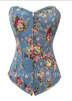 42933c6dd7 Sky Blue Floral Print Sexy Strong Boned Corset Lace Up Bustier- this would  be great with a tutu for Faerie Fest!