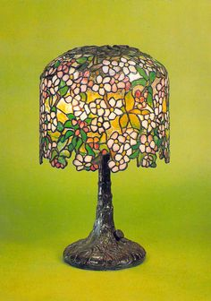 MINIATURE APPLE BLOSSOM TABLE LAMP TIFFANY POSTCARD by star1950 on Flickr