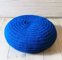 Floor Cushion Crochet blue by lacasadecoto on Etsy Crochet Baby Boy Hat, Baby Boy Hats, Crochet Hats, Rug Yarn, Crochet Amigurumi Free Patterns, Sewing Studio, Cotton Lights, Floor Cushions, Flooring