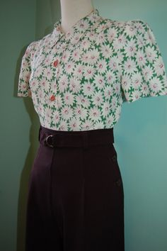 1930s 1940s  vintage rayon fabric puffed sleeve blouse     custom made for your size