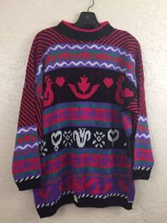 NWT Vintage Kitschy Flowers & Chickens Bright Grandma Pull Over Sweater for Sale in Pomona, CA - OfferUp Chicken Pattern, Teal Flowers, Purple Teal, Vintage Shoes, Vintage Black, Indie Fashion, Christmas Sweaters, Indie Style, Dawn