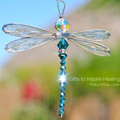 Chakra Dragonfly Sun Catcher With Gold Wings - (robynnola)