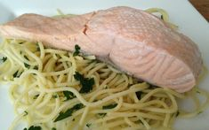 Dinner Ideas: Poached Salmon on Noodles