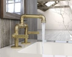 Decoration. Industrial Faucet With Brass Piping Idea. Vintage Decorating Use Industrial Sink And Faucet. Stylishoms.com