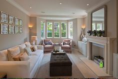 Middleway, London - transitional - Living Room - Other Metro - Peach Studio // long living room layout with mirror above fireplace Rectangular Living Rooms, Narrow Living Room, New Living Room, Living Room Decor, Small Living, Studio Living, Cream Living Room Warm, Cozy Living, Long Living Rooms